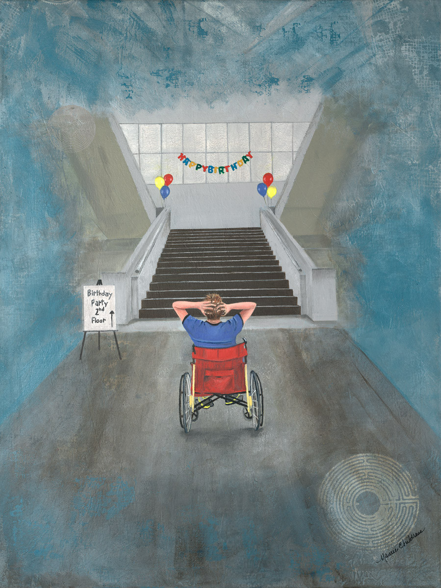 I Was Invited to the Party painting shows the back of a man, using a wheelchair, looking up at the staircase to a party he cannot get to.