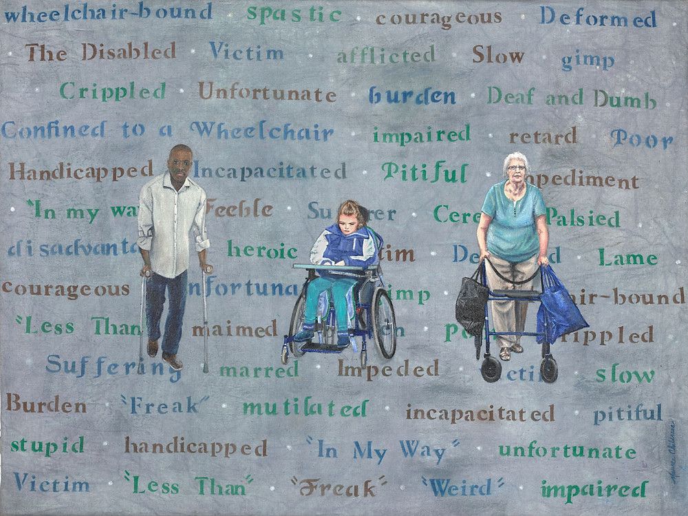 3 people using mobility devices with offensive words and thoughts behind them.