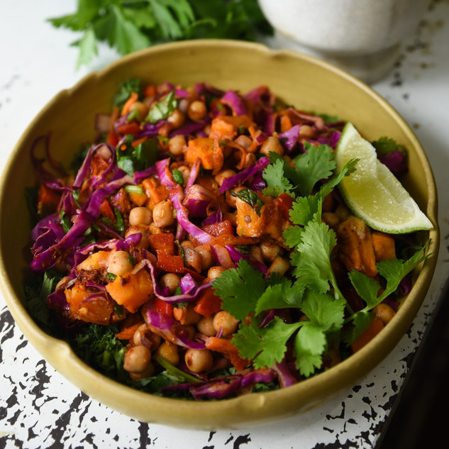 Moroccan Chickpea & Roast Pumpkin Salad w Coriander & Lime Dressing
