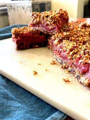 Rhubarb Crumble Breakfast Slice