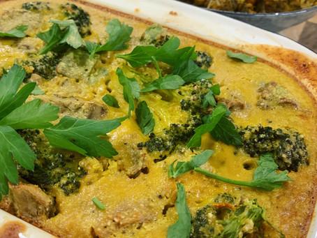 Lemon, Cheesy, Broccoli & Quinoa Bake