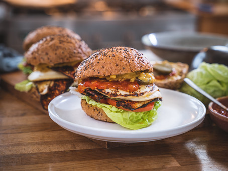 Ultimate Brekky Burger w Tofu 'Egg' and Eggplant 'Bacon'