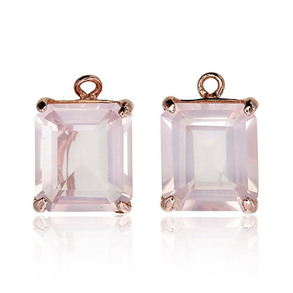 Emerald Cut Rose Quartz Drops