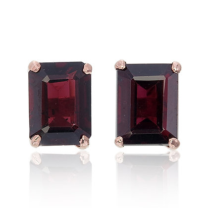 Emerald Cut Ruby Studs