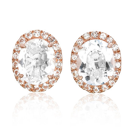 Oval Cut White Topaz with Pavé Studs