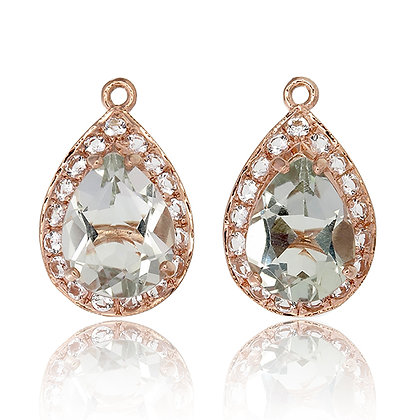 Pear Cut Green Amethyst with White Topaz Pavé Drops