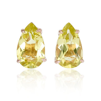 Pear Cut Lemon Quartz Studs