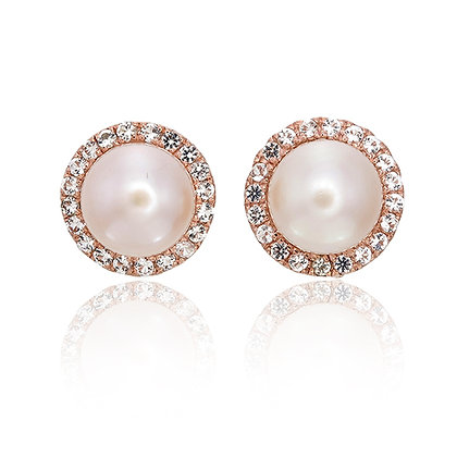 Small Freshwater Pearl with White Topaz Pavé Studs