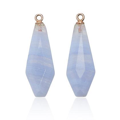 Blue Lace Agate Art Deco Kite Drops