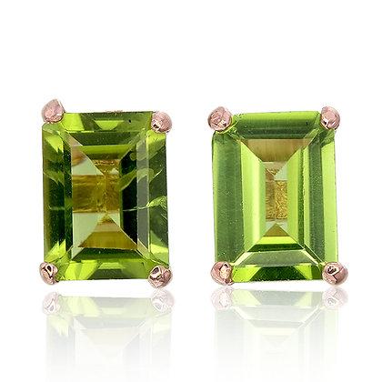 Emerald Cut Peridot Studs