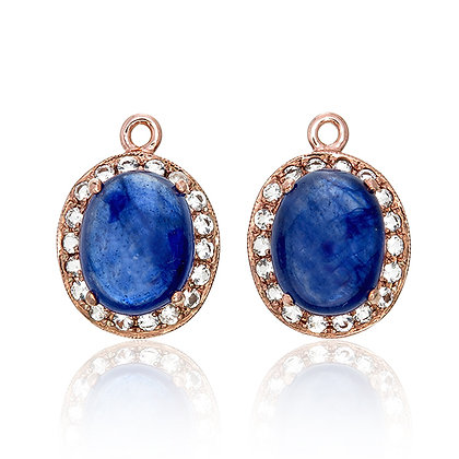 Oval Blue Sapphire Cabochons with White Topaz Pavé Drops