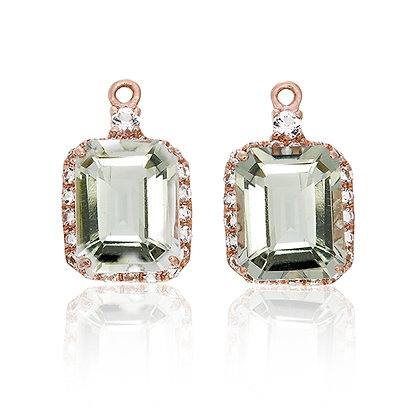 Emerald Cut Green Amethyst with White Topaz Pavé Drops