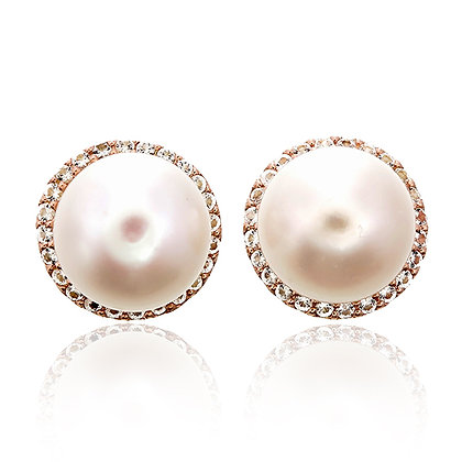 Big Freshwater Pearl with White Topaz Pavé Studs