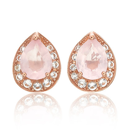 Pear Cut Rose Quartz with White Topaz Pavé Studs