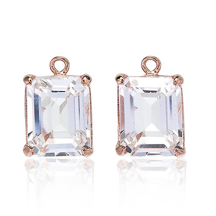 Emerald Cut White Topaz Drops