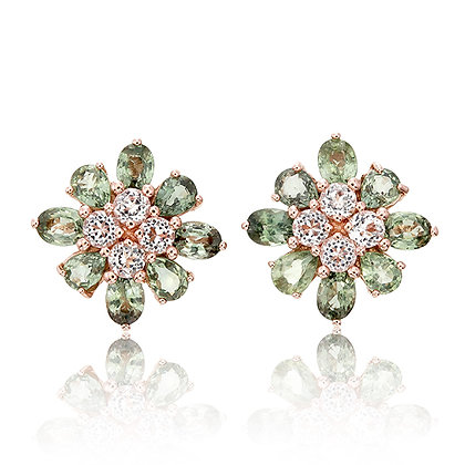 Green Sapphire Floral Studs