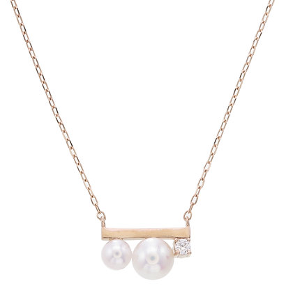 Akoya Pearls Bar with Diamond Pendant with Gold Chain Necklace