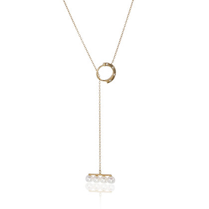 Akoya Pearls Bar with Diamond Ring Gold Chain Necklace