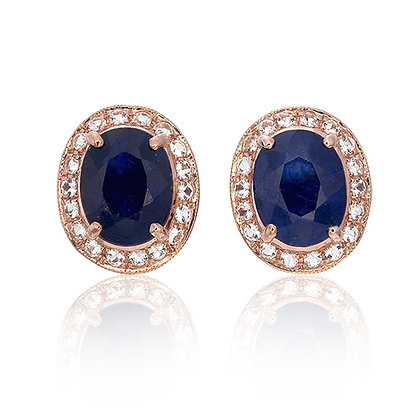 Oval Cut Blue Sapphire with White Topaz Pavé Studs