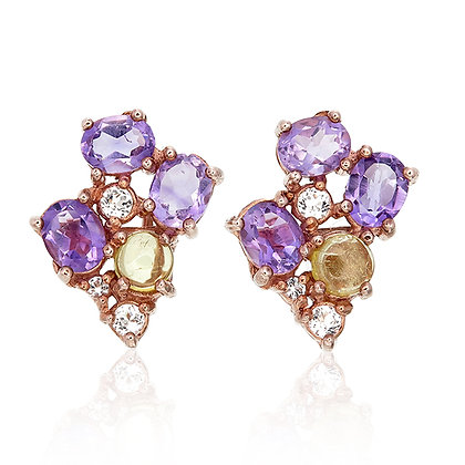 Purple and Green Tourmaline Bouquet Studs
