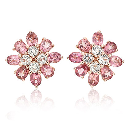 Pink Tourmaline Floral Studs