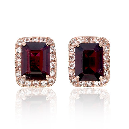 Emerald Cut Red Garnet with White Topaz Pavé Studs