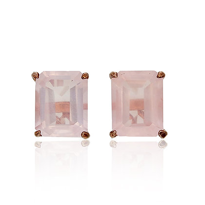 Emerald Cut Rose Quartz Studs