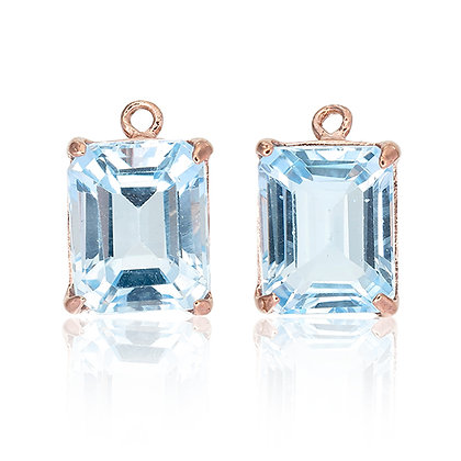 Emerald Cut Blue Topaz Drops