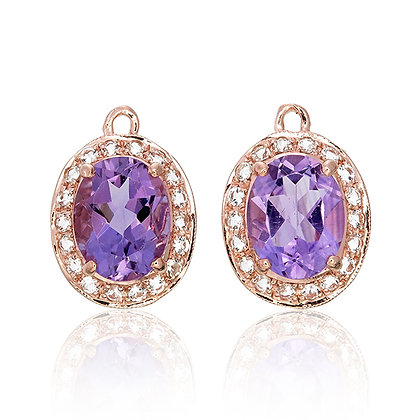 Oval Cut Purple Amethyst with White Topaz Pavé Drops
