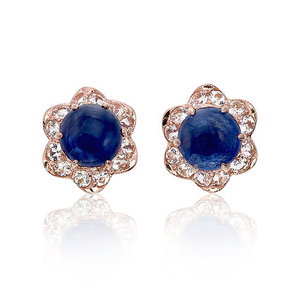 Blue Sapphire Cabochon with White Topaz Floral Studs