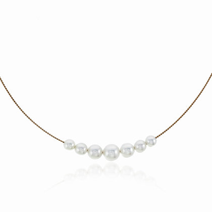 Graduated Akoya Pearls in a Row Gold Chain Choker