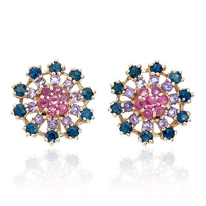 Ruby, Amethyst and Blue Sapphire Round Studs
