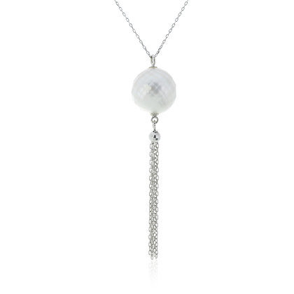 South Sea Faceted Pearl Pendant Lariat in Gold Chain Necklace