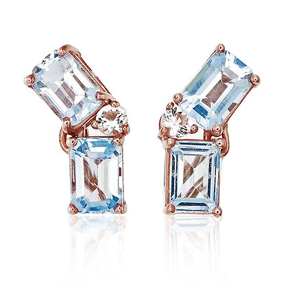 Blue Topaz Stacked Studs