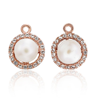 Round White Freshwater Pearl with White Topaz Pavé Drops