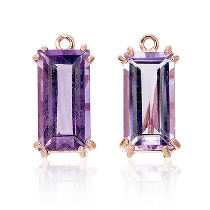 Baguette Cut Purple Amethyst Drops