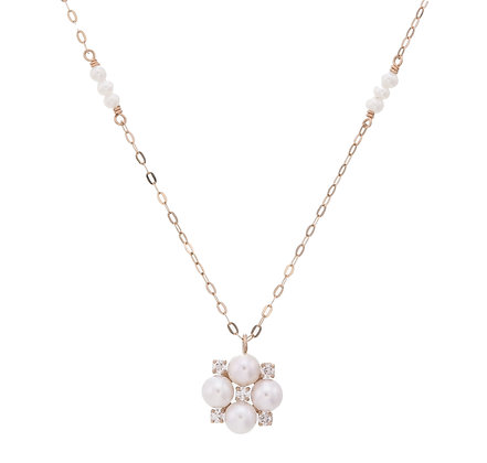 Akoya Pearls with Diamonds Clover Pendant with Gold Chain Necklace