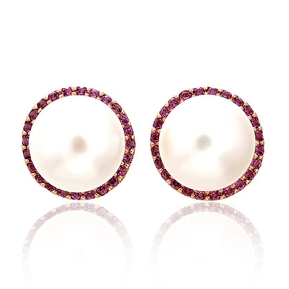 Big Freshwater Pearl with Rhodolite Pavé Studs