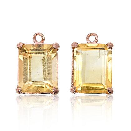 Emerald Cut Citrine Drops
