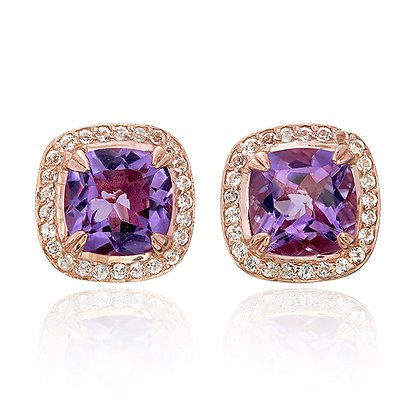 Cushion Cut Purple Amethyst with White Topaz Pavé Studs