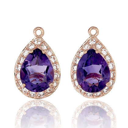 Pear Cut Purple Amethyst with White Topaz Pavé Drops