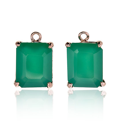 Emerald Cut Green Chalcedony Drops