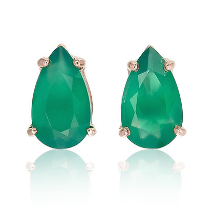 Pear Cut Green Chalcedony Studs