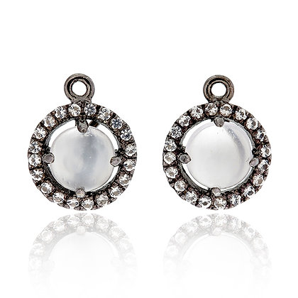 Round Moonstone Cabochon with White Topaz Pavé Drops
