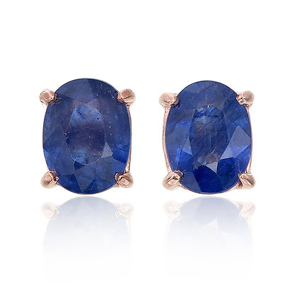 Oval Cut Blue Sapphire Studs