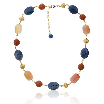 Coral, Agate and Red Aventurine Choker Necklace