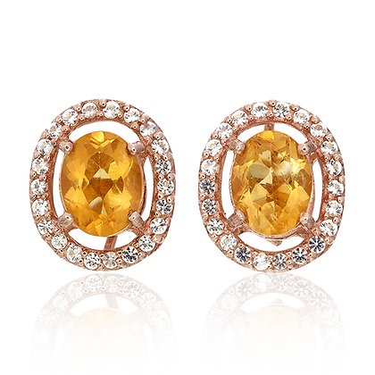 Oval Cut Citrine with White Topaz Pavé Studs