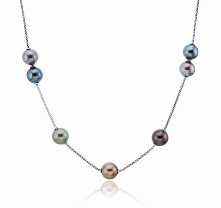 Tahitian Pearls in Motion Silver Chain Necklace