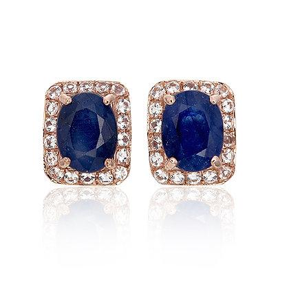 Oval Cut Blue Sapphire with White Topaz Pavé Rectangle Studs