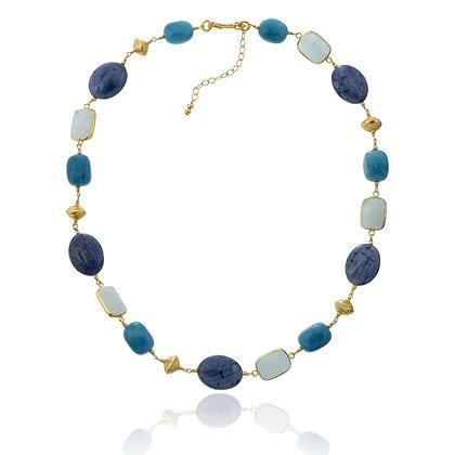 Coral, Amazonite and Quartz Choker Necklace